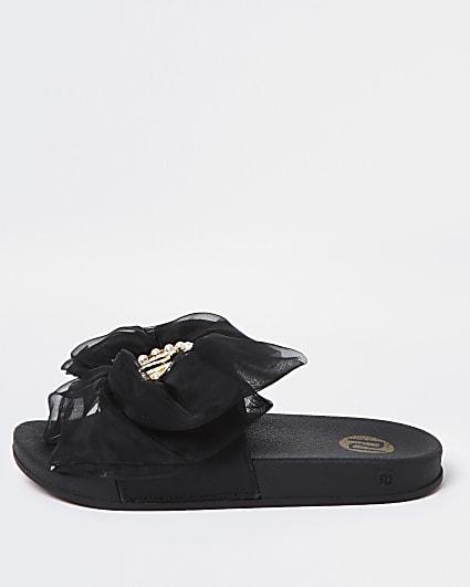Girls black RI organza bow sliders