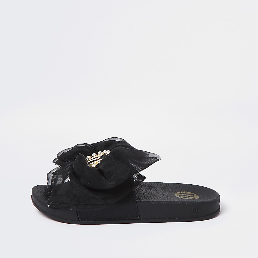 Girls black RI organza bow sliders