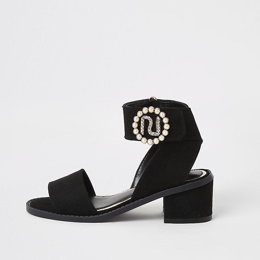 Girls black RI pearl heeled sandals