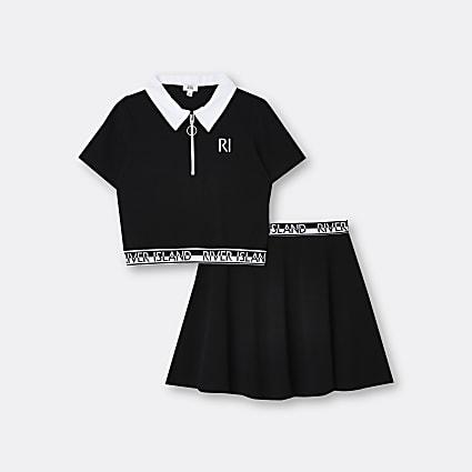 Girls black RI polo top and skirt set