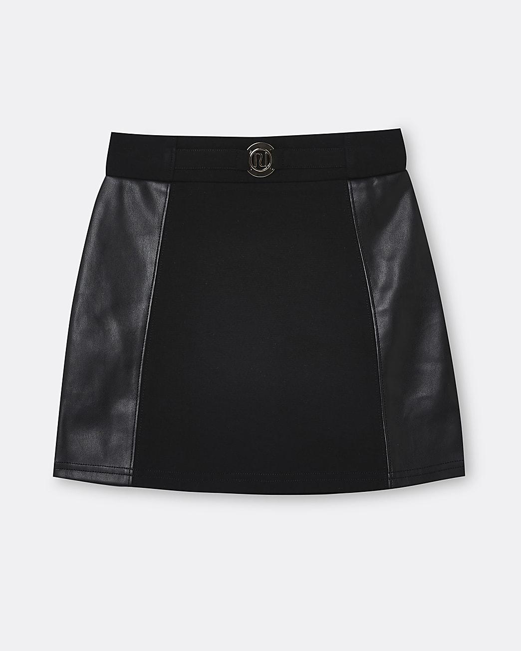 Girls black RI ponte faux leather skirt