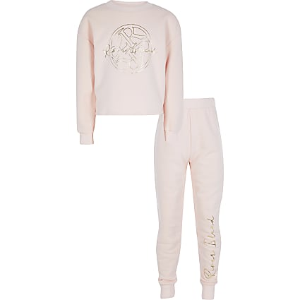 Girls black RI print sweatshirt outfit