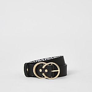 Schwarzer Gürtel mit Doppelschnalle und RI-Print für Mädchen