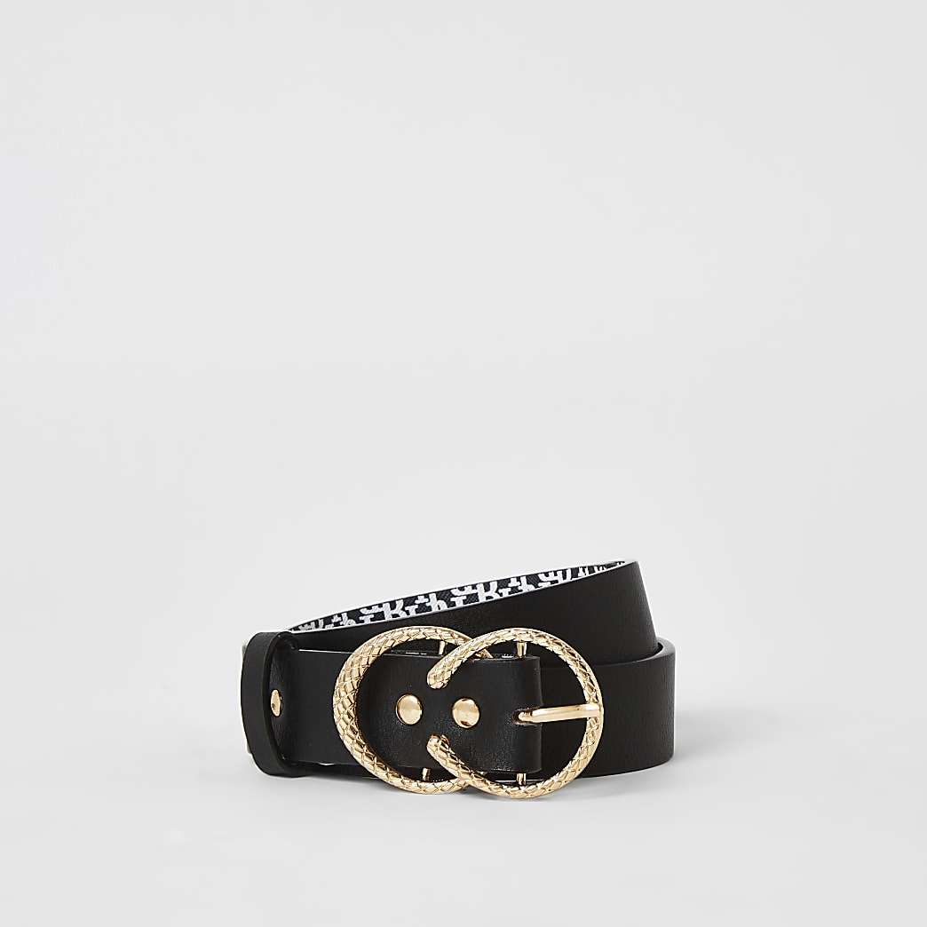Girls black RI printed double buckle belt