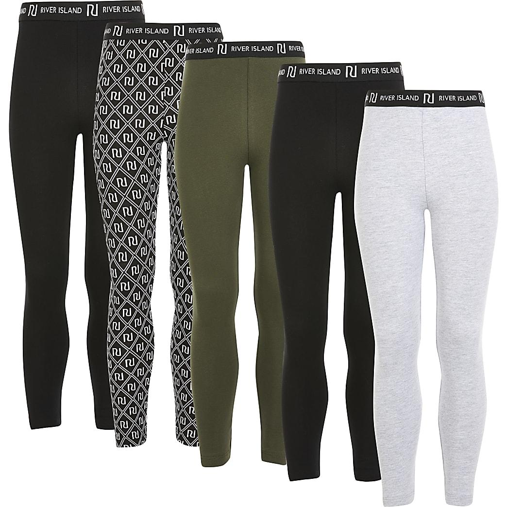 Set van 5 zwarte leggings met RI-print voor meisjes
