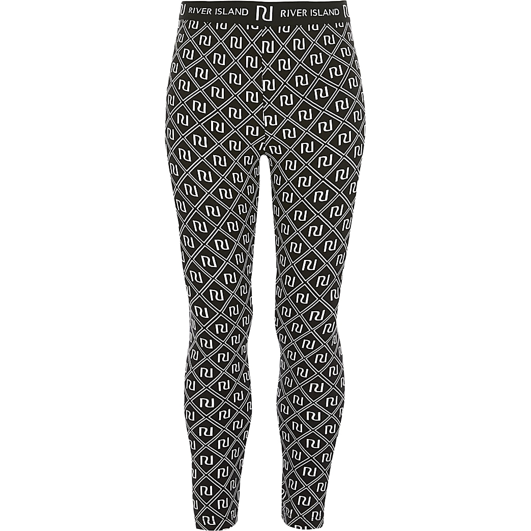 Girls black RI printed leggings