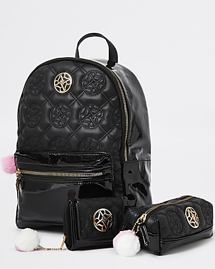 Girls black RI quilted backpack 3 piece set