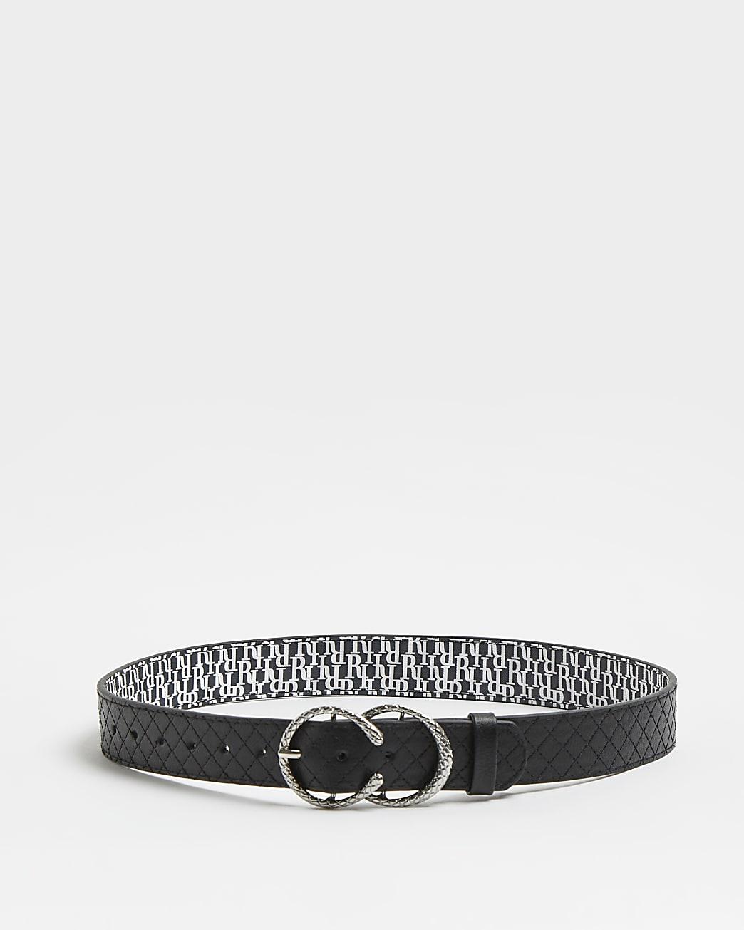 Girls black RI quilted belt