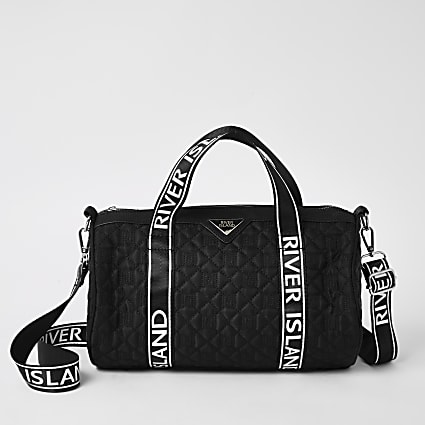 Girls black RI quilted holdall bag