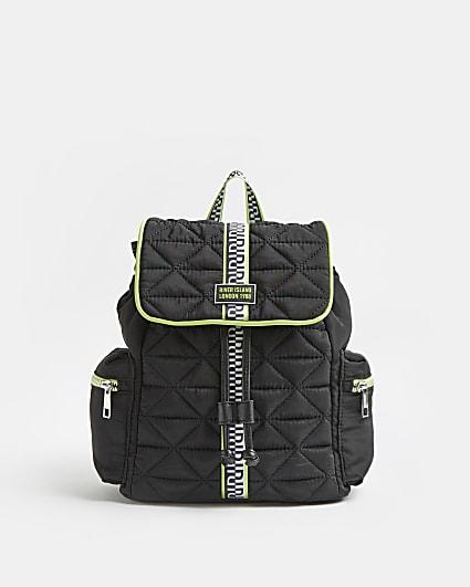 Girls black RI quilted nylon backpack