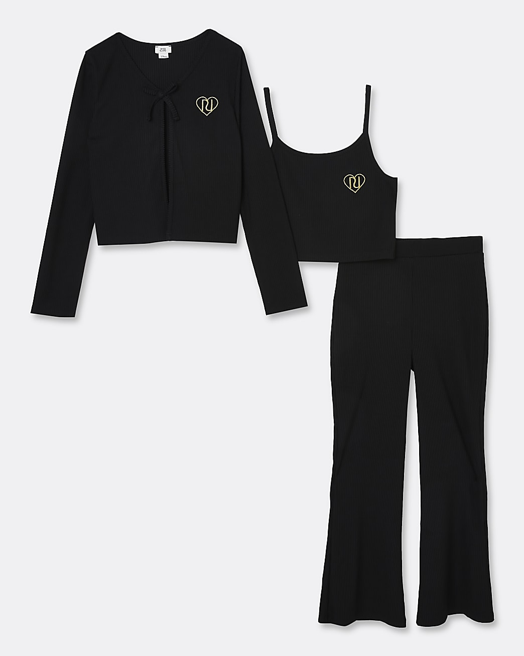 Girls black RI ribbed cardigan 3 piece outfit