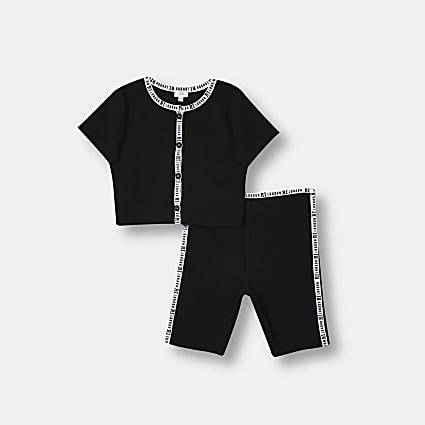 Girls black RI ribbed t-shirt and shorts set