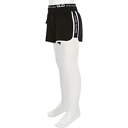 Girls black RI runner shorts