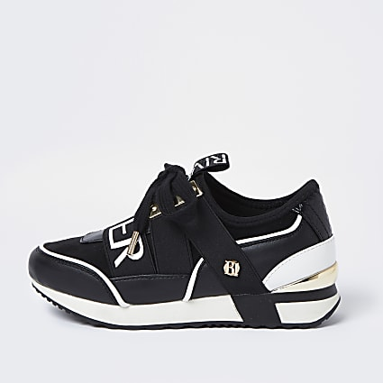Girls black RI runner trainers
