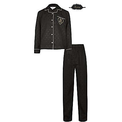 Girls black 'RI' satin jacquard boxed pyjamas