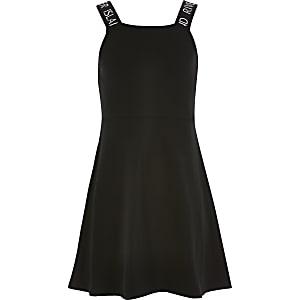 Schwarzes Skater-Kleid mit RI-Trägern für Mädchen