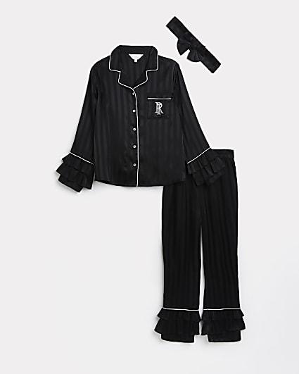 Girls black RI stripe ruffle pyjama set