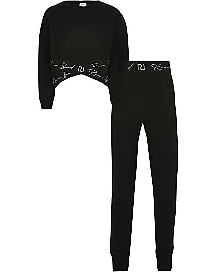 Girls black RI sweatshirt and legging outfit