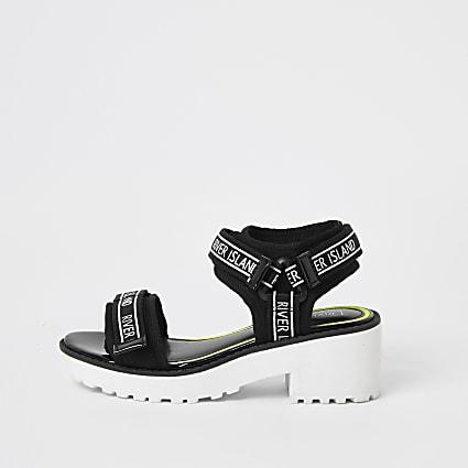 Girls black RI tape chunky sandals