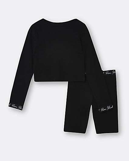 Girls black RI top and shorts lounge outfit