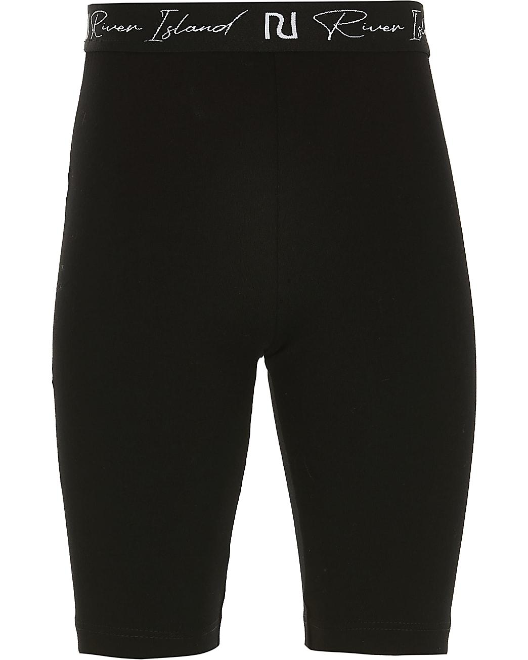 Girls black RI waistband cycling shorts