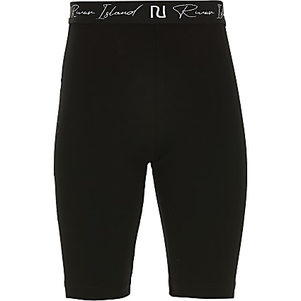 Girls black RI waistband cycling shorts