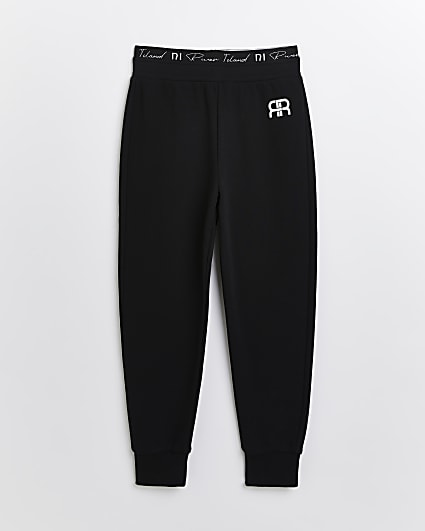 Girls black RI waistband joggers