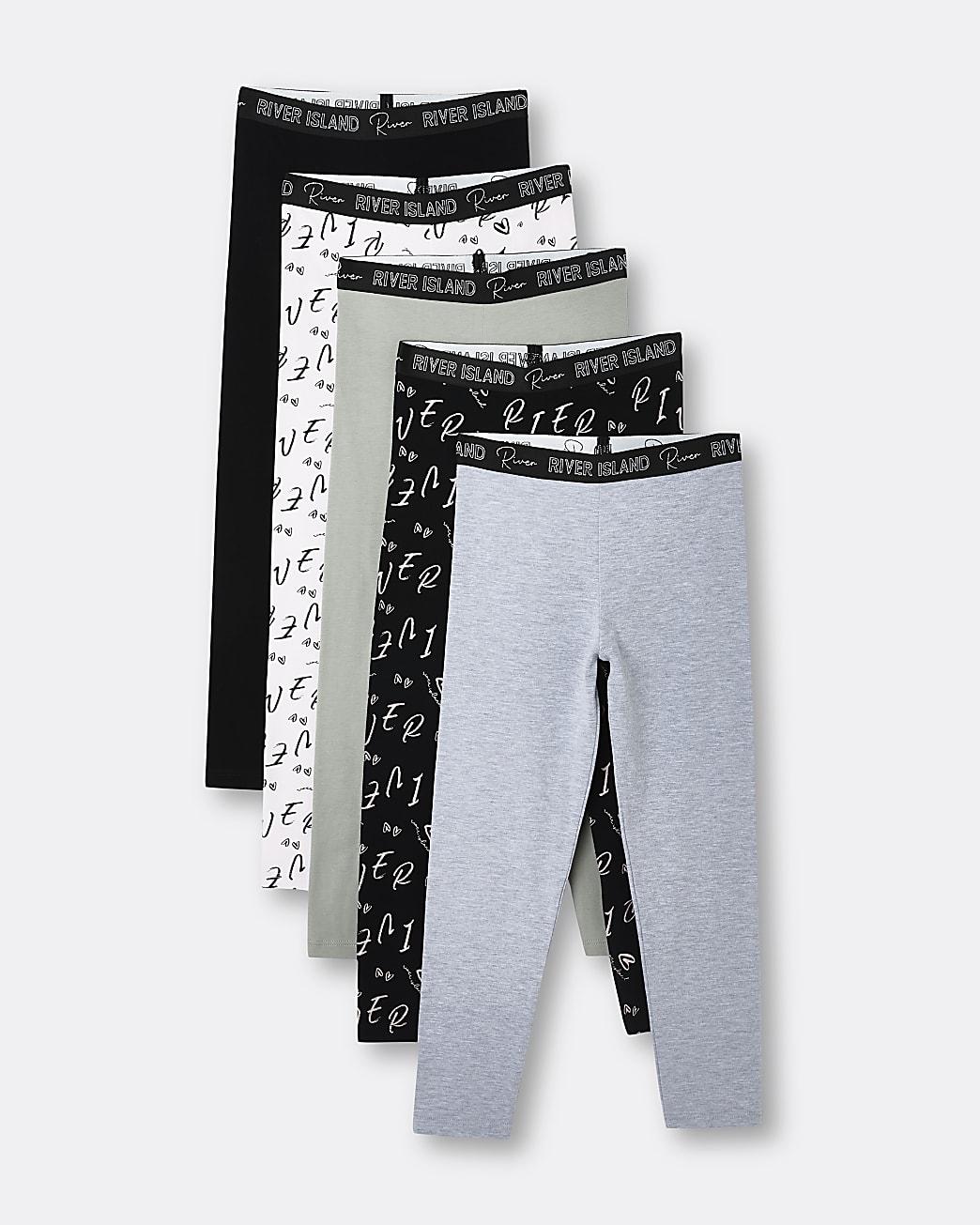 Girls black RI waistband leggings 5 pack