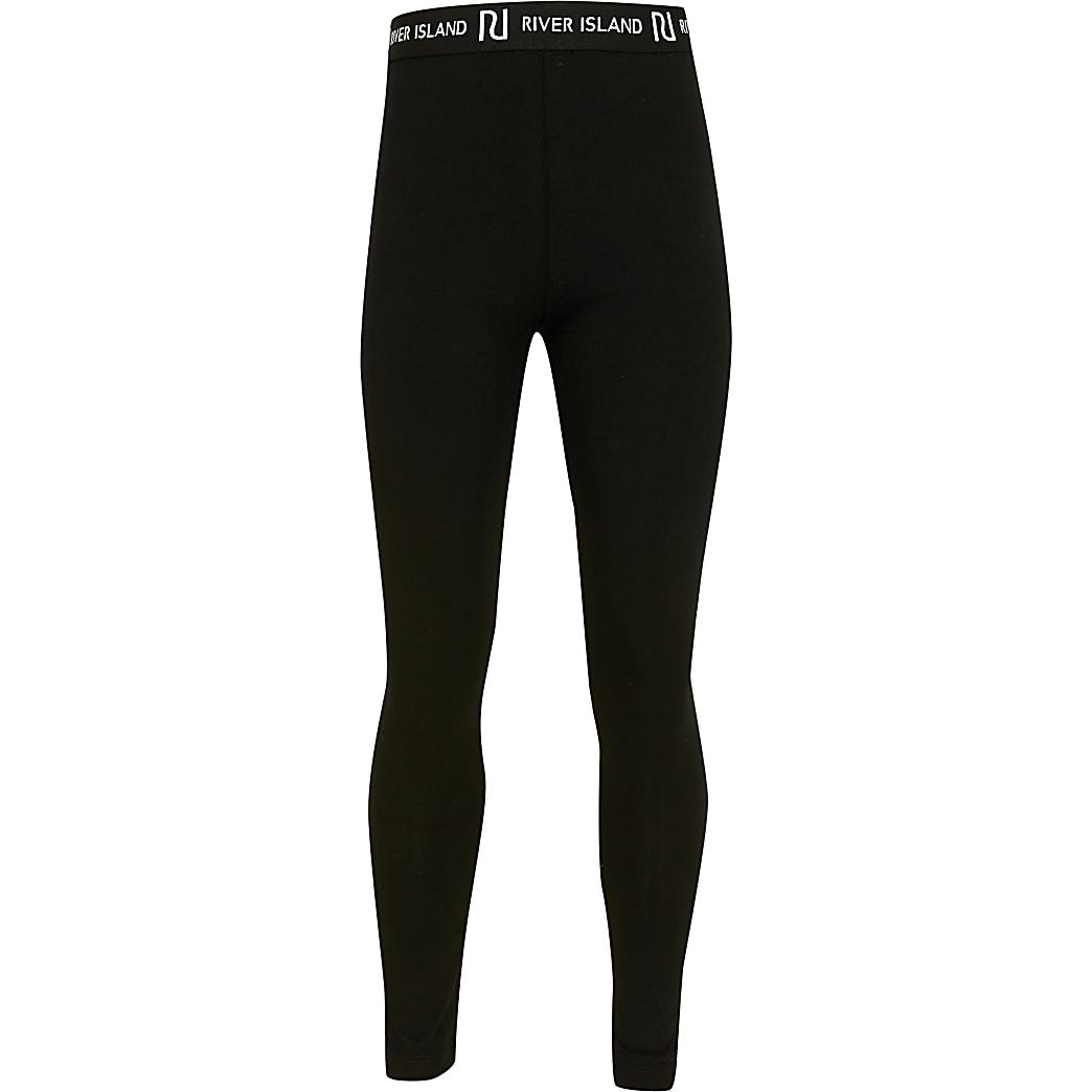Girls black RI waistband leggings