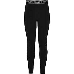 Zwarte legging met RI-tailleband voor meisjes