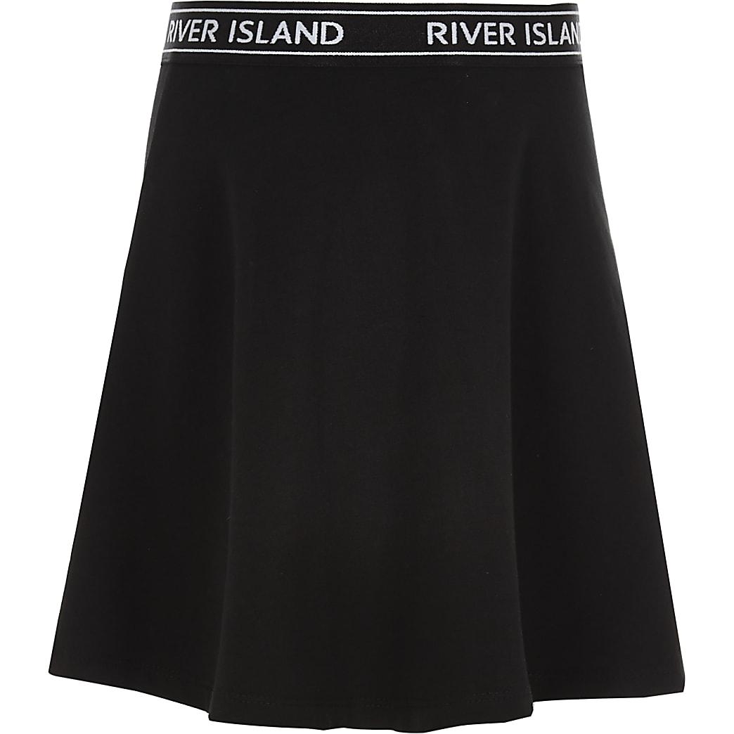 Girls black RI waistband skater skirt