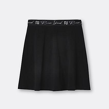 Girls black RI waistband skirt