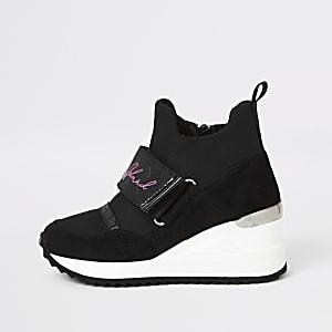Zwarte hoge RI sneakersmet sleehak voor meisjes