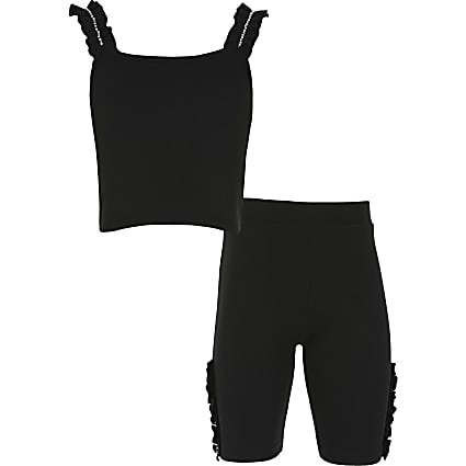 Girls black ribbed diamante outfit
