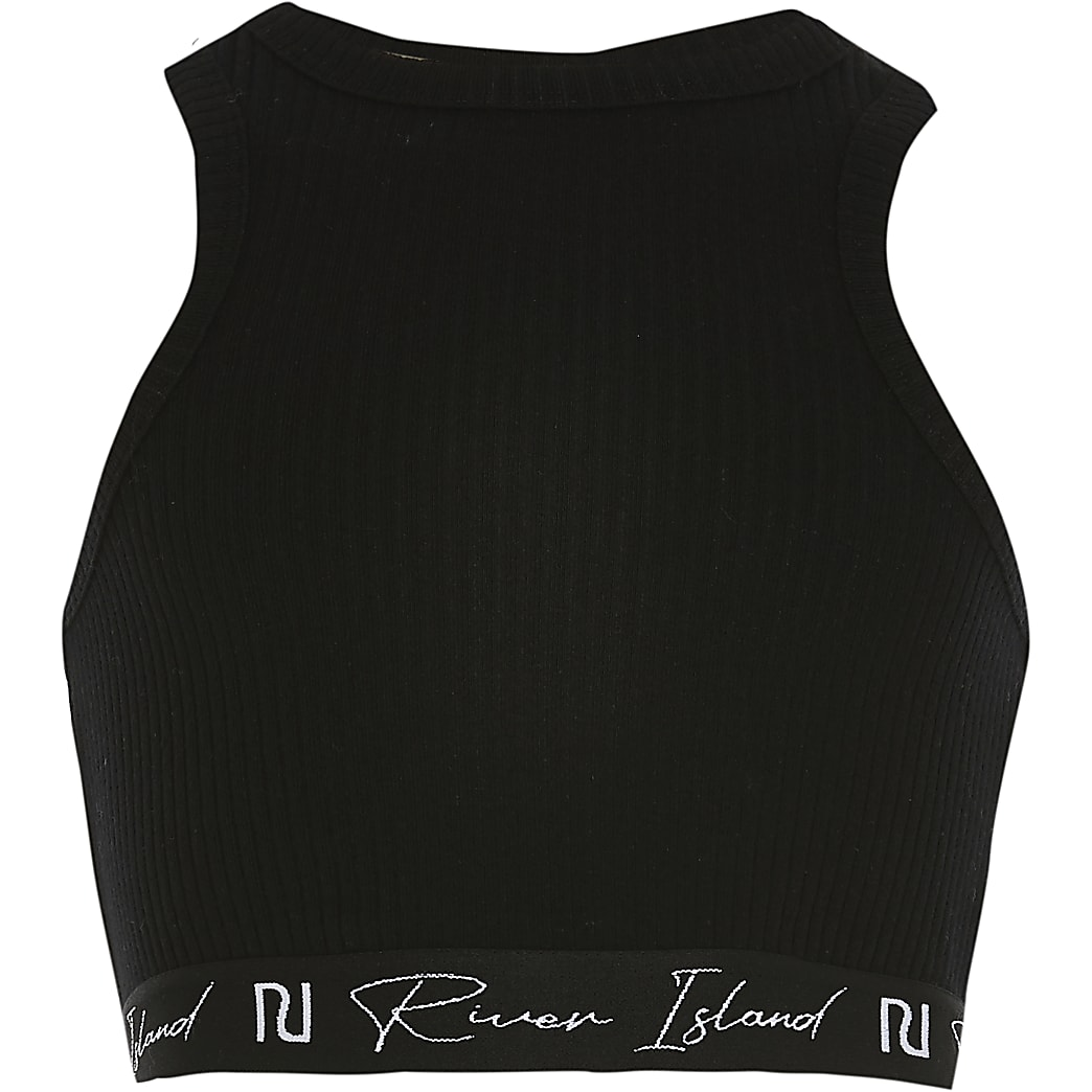 Girls black ribbed elasticated trim crop top