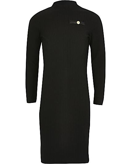 Girls black ribbed faux leather trim dress