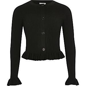 Cardigan côtelé noir avec ourlet à volant pour fille