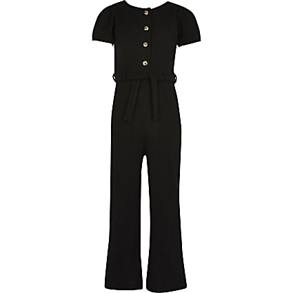 Girls black ribbed jumpsuit