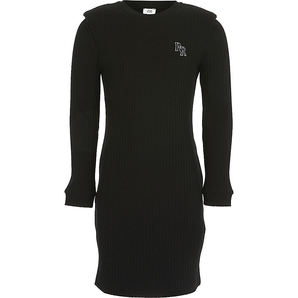 Girls black ribbed shoulder pad dress