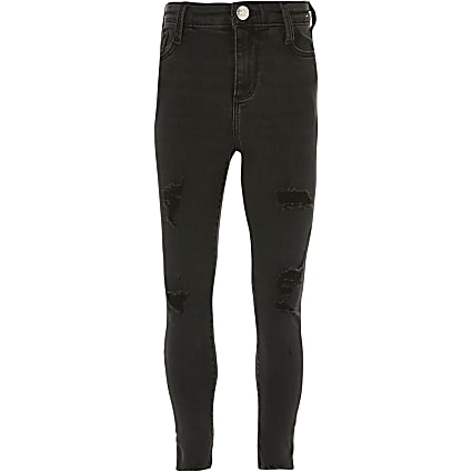 Girls black ripped amelie skinny jeans