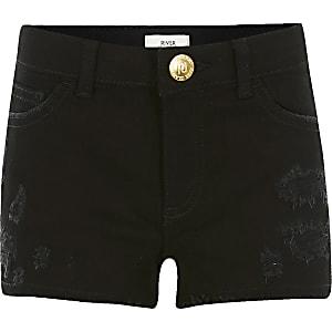 Becca– Schwarze Relaxed Fit Shorts im Used-Look für Mädchen