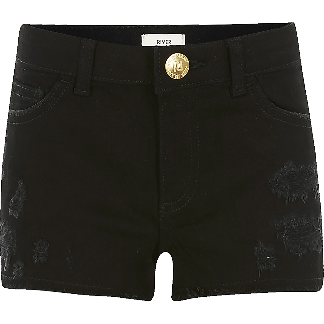 Girls black ripped Becca relaxed shorts