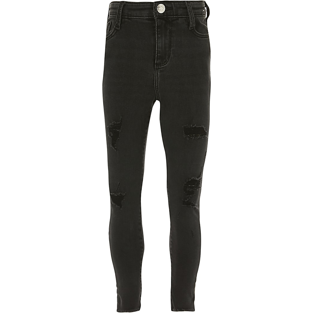 Girls black ripped mid rise skinny jeans