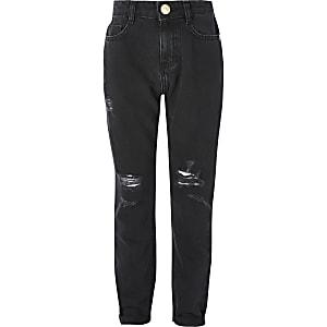 Schwarze Mom-Jeans im Used-Look mit hohem Bund für Mädchen