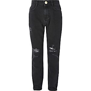 Zwarte ripped Mom jeans met hoge taille voor meisjes