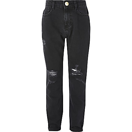 Girls black ripped Mom high rise jeans
