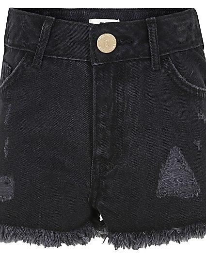 Girls black ripped shorts