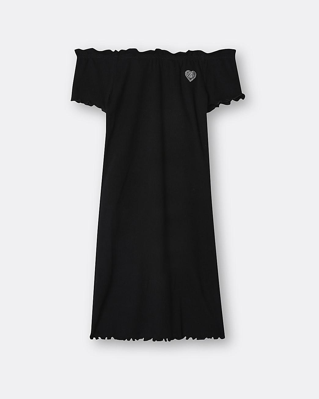 Girls black RIR bardot dress