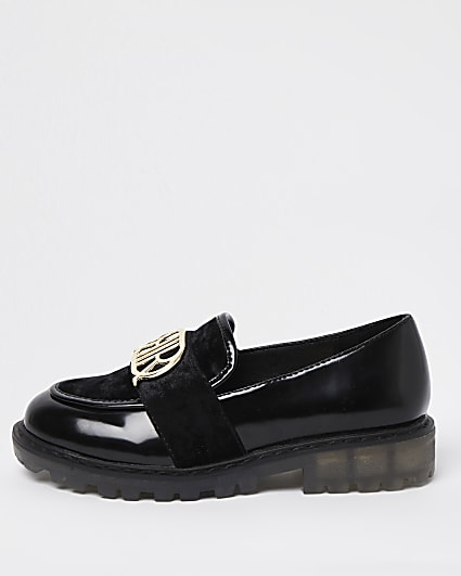 Girls black RIR chunky patent loafers