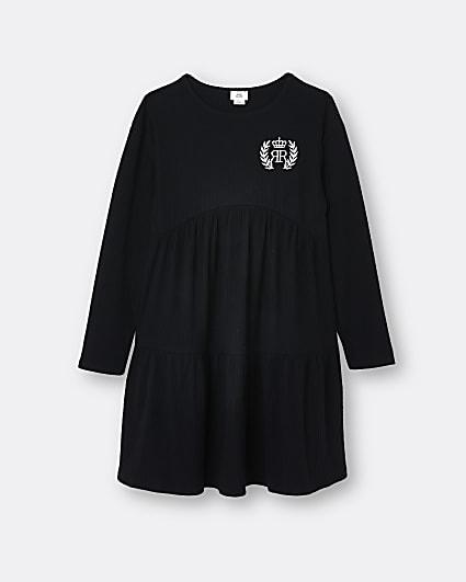 Girls black RIR cosy smock dress
